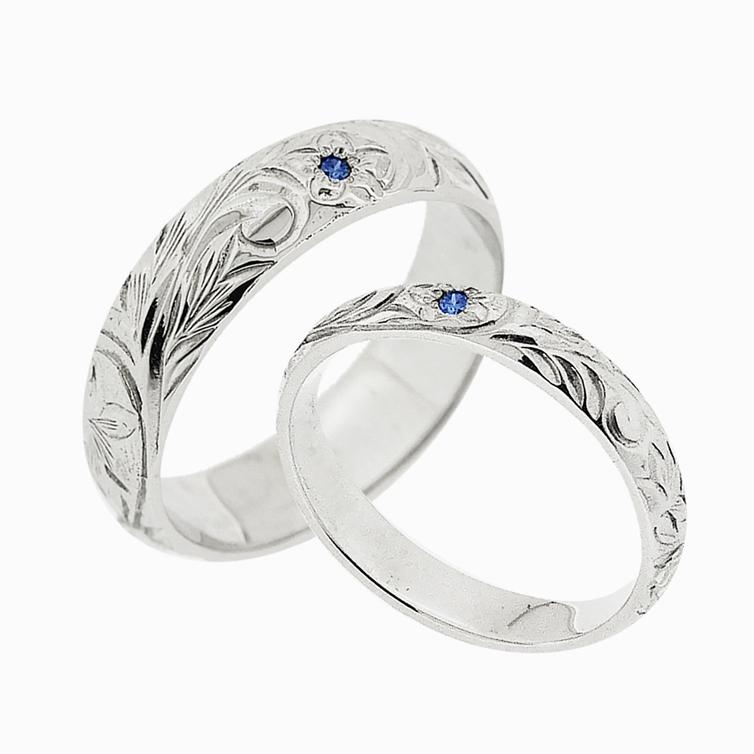 【ペアリング】ブループルメリアS&L シルバー ブルーダイヤモンドリング