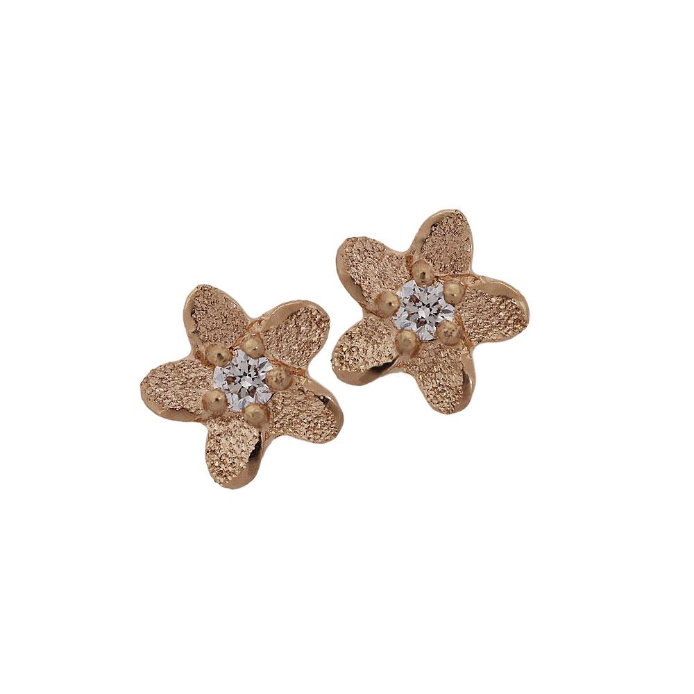 ハワイアンジュエリー[K14PG/ダイヤモンド] プルメリアDIA スタッズピアス
