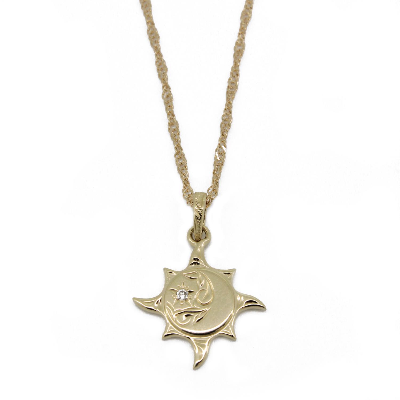 太陽と月と星/ハワイアンジュエリー〔SV925〕プカナ ラーSペンダント