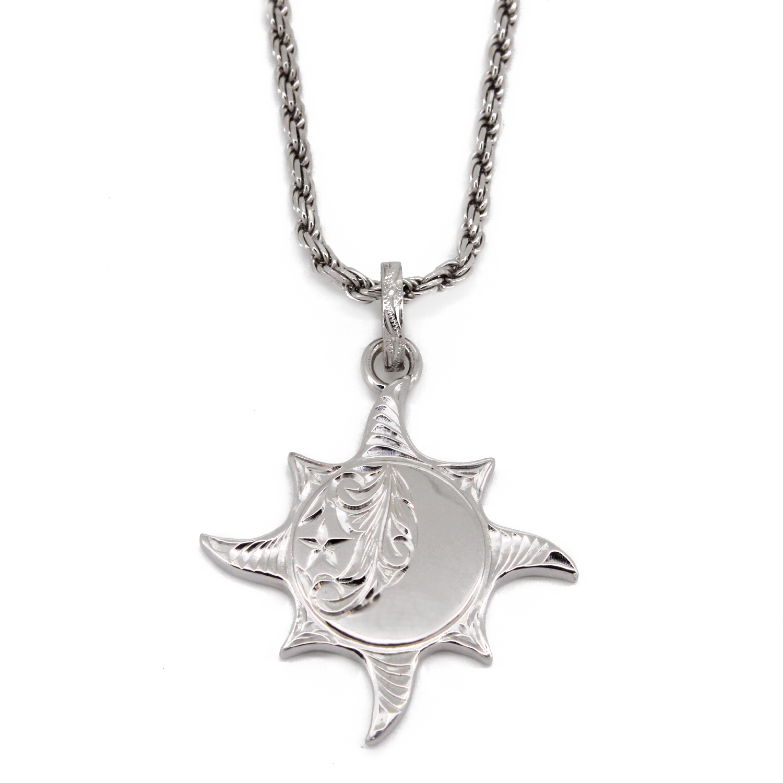太陽と月と星/ハワイアンジュエリー〔SV925〕プカナ ラーLペンダント