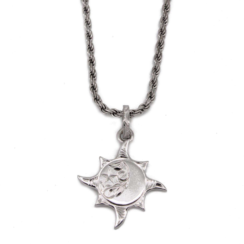 太陽と月と星/ハワイアンジュエリー〔SV925〕プカナ ラーMペンダント