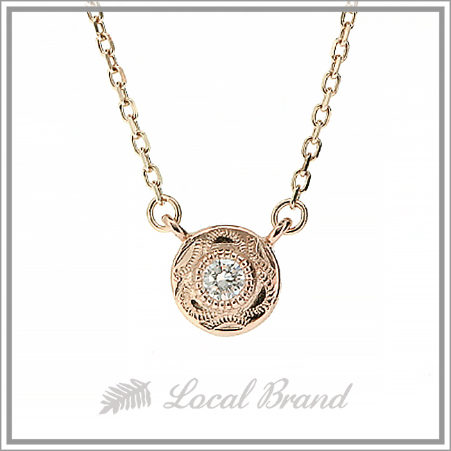 カイマナポエポエ K10 ピンクゴールド ダイヤモンドネックレス