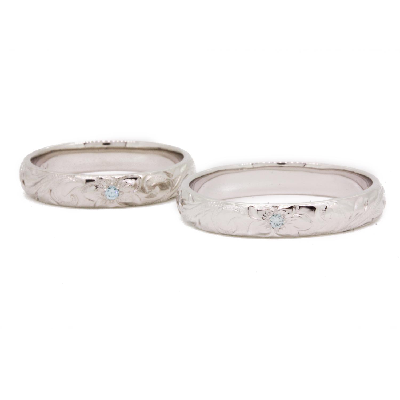 ハワイアンジュエリー[SV925/ブルーダイヤモンド] ブループルメリアS&L ペアリング